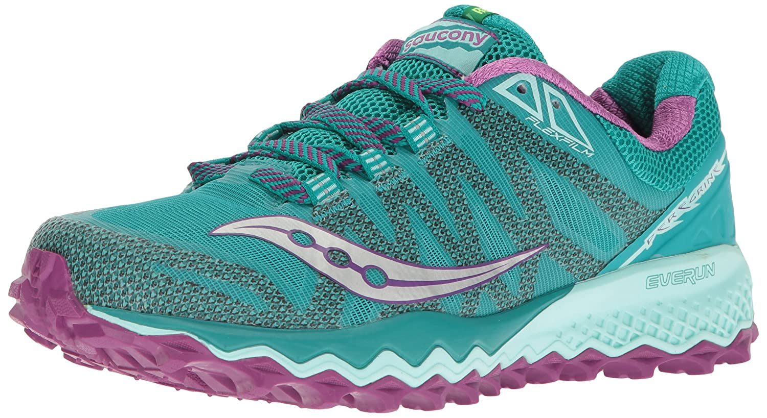Saucony Women's Peregrine 7 Trail Running Shoe B005BFC656 9 B(M) US|Teal/Purple/Citron