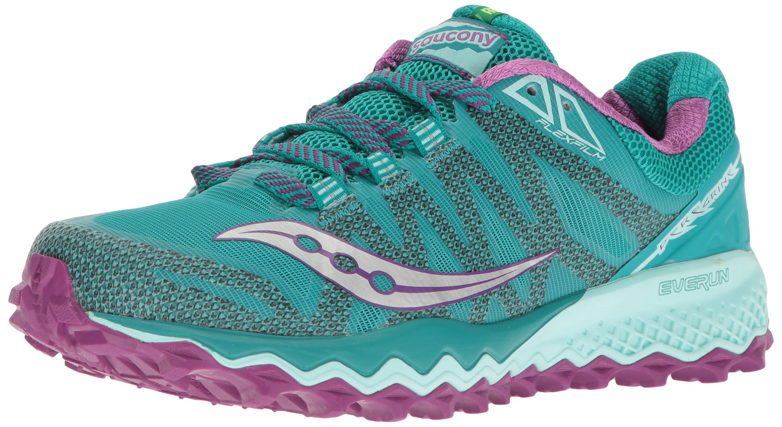 Saucony Women's Peregrine 7 Trail Runner, Teal/Purple/Citron, 8.5 M US