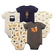 Hudson Baby Unisex Baby Cotton Bodysuits, Woodland Creatures 5 Pack, 0-3 Months (3M)