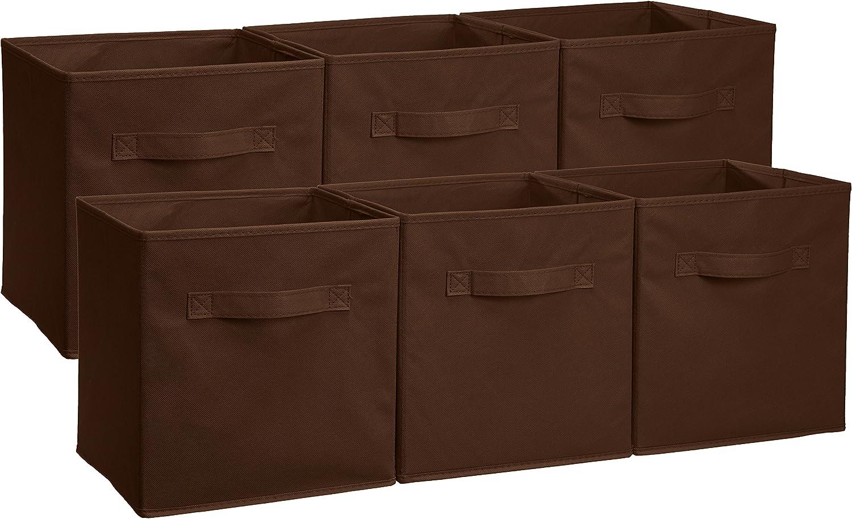 AmazonBasics - Cubos de almacenamiento plegables (pack de 6), Marrón