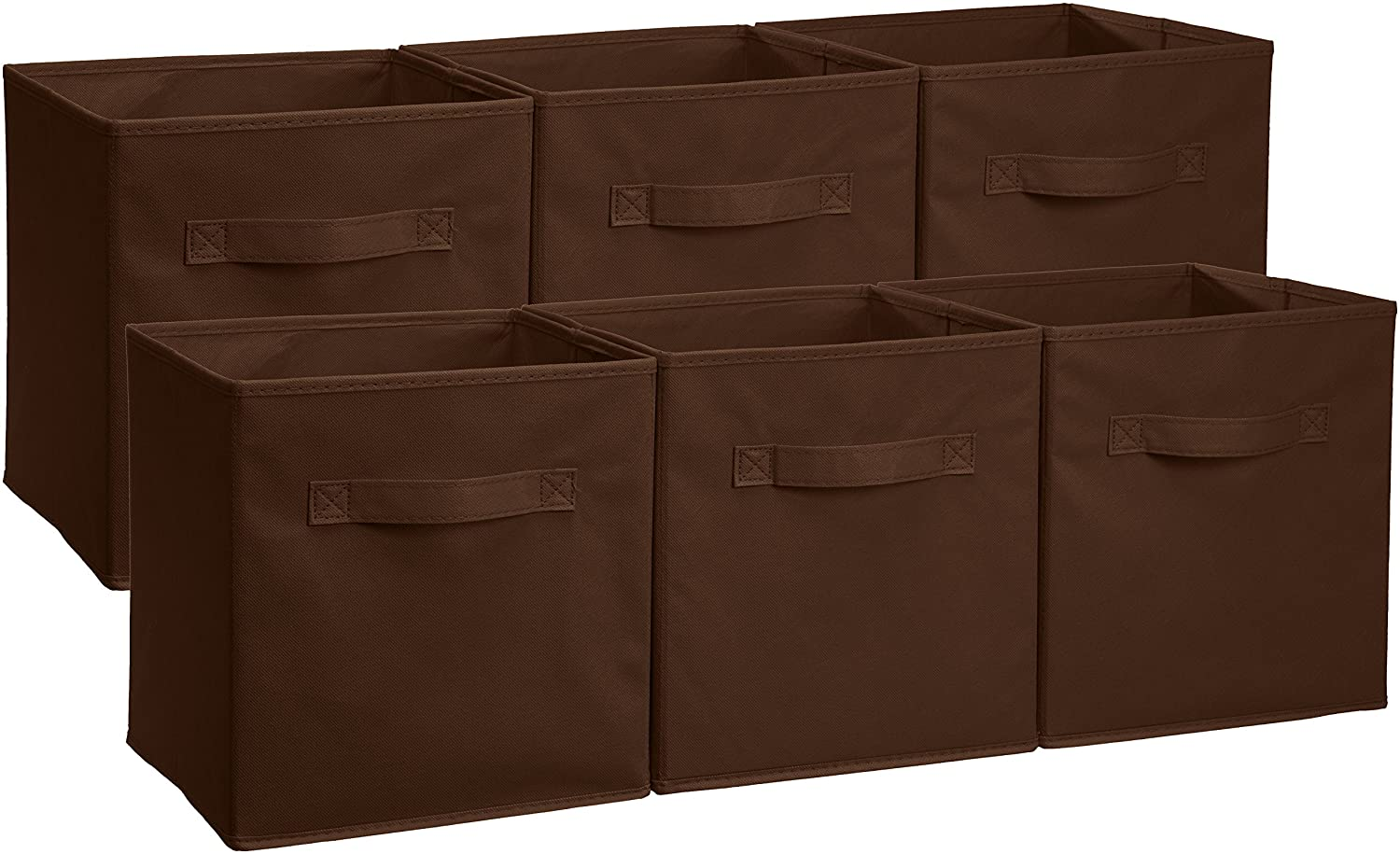 AmazonBasics Foldable Storage Cubes - 6-Pack, Brown