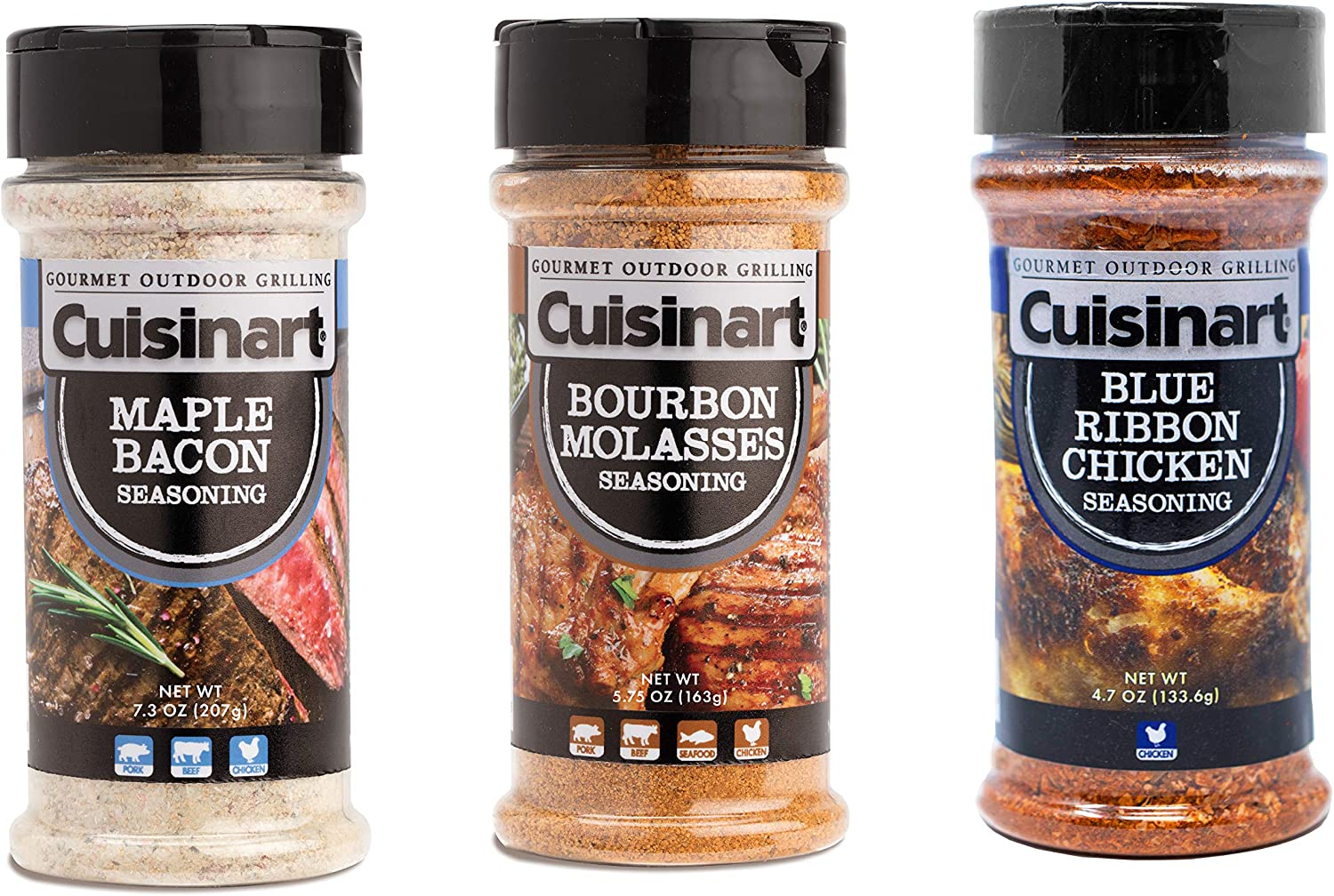 Cuisinart CGAA-330 Barbecue Variety Pack, Set of 3-Includes Bourbon Molasses, Maple Bacon, Blue Ribbon Chicken BBQ Seasoning, Multicolored
