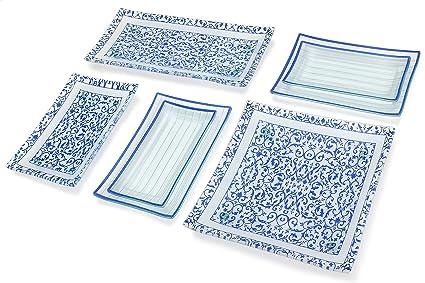 GAC 11 Piece Rectangular Blue Dinnerware Set Tempered Glass - Break and Chip Resistant - Oven  sc 1 st  Amazon.com & Amazon.com | GAC 11 Piece Rectangular Blue Dinnerware Set Tempered ...