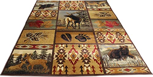 Rugs 4 Less Collection Wilderness Nature Themed Cabin Style Area Rug Design R4L 760 5 X7