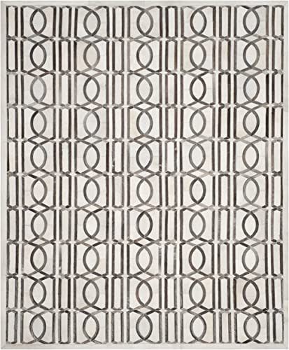Safavieh Studio Leather Collection STL662A Ivory and Grey Area Rug, 8 x 10