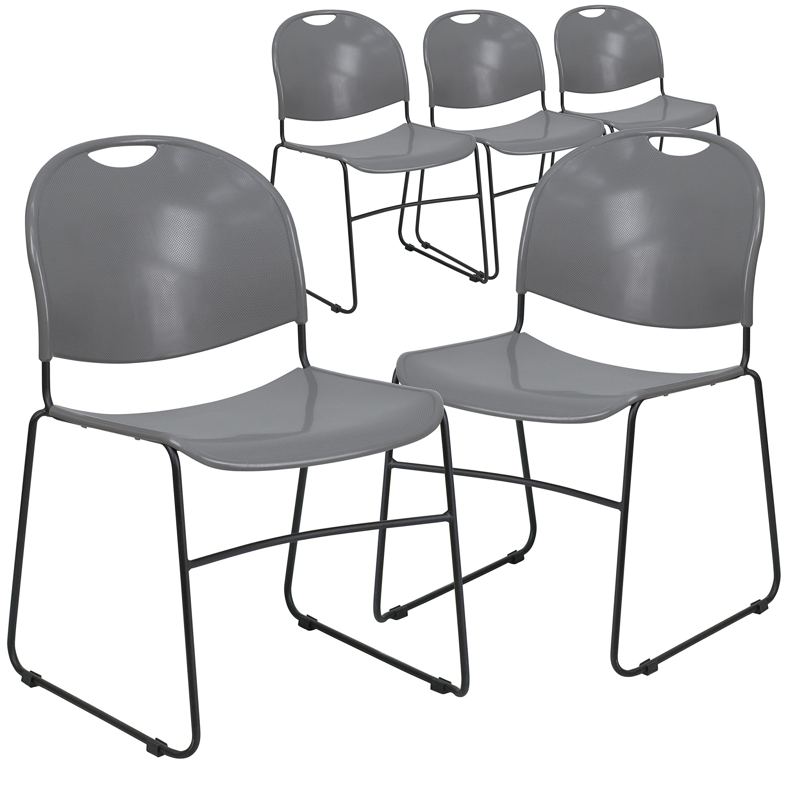 Flash Furniture 5 Pk. HERCULES Series 880 lb. Capacity Gray Ultra Compact Stack Chair with Black Frame