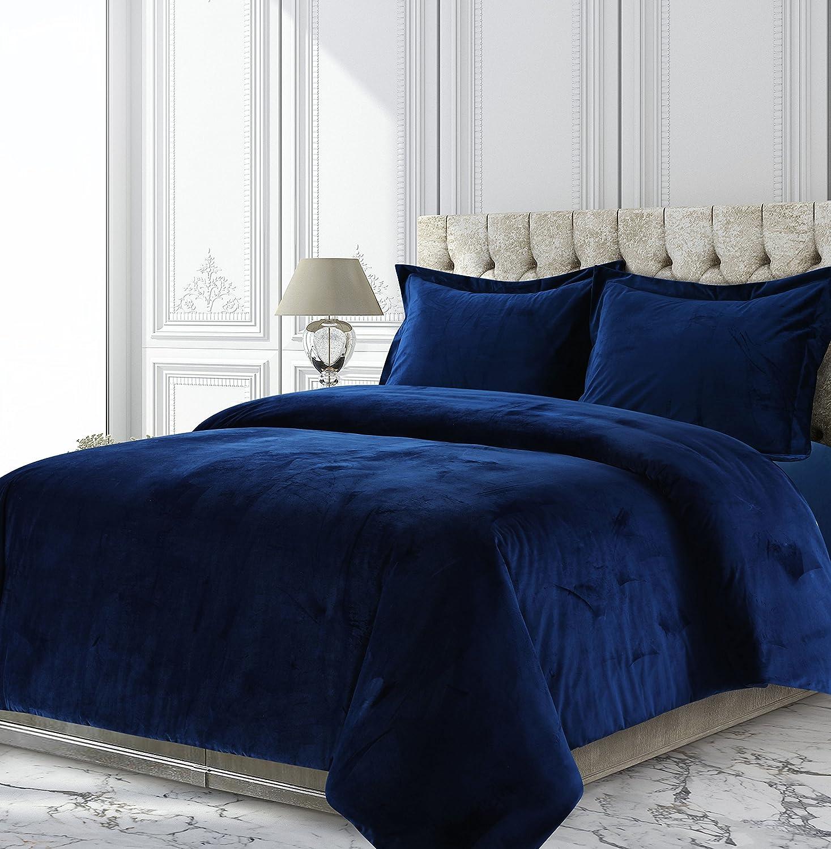 Tribeca Living VENICEDUVETKINB Venice Velvet Oversized Solid Duvet Set, King, Navy Blue