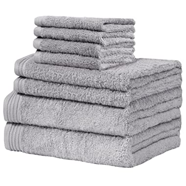 Weidemans Premium 8 Pieces Towel Set Including 2 Bath Towels 30  x 56 , 2 Hand Towels 18  x 30  and 4 Washcloths 13  x 13  - Color: Silver 100% Cotton Machine Washable high Absorbency