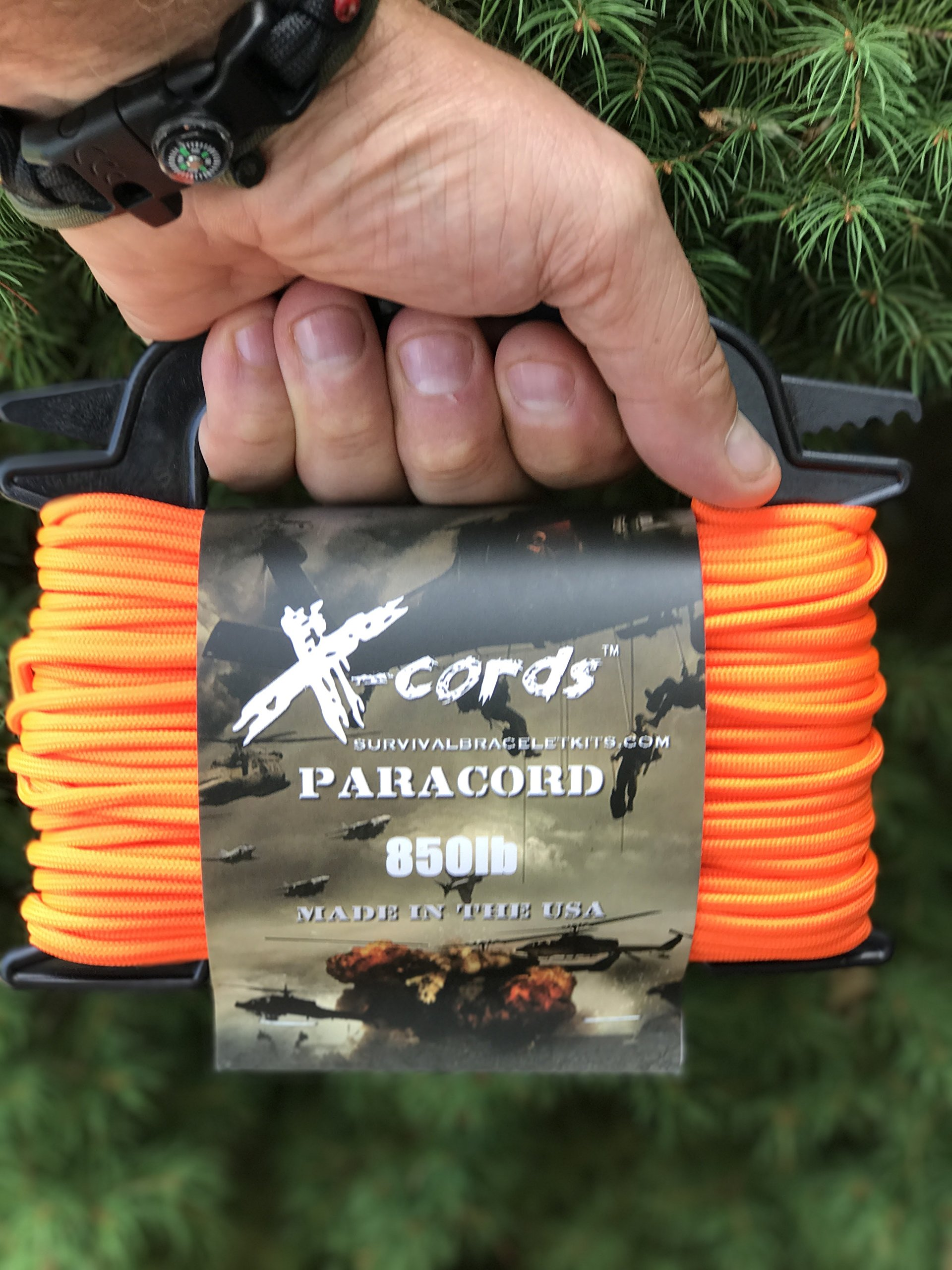 X-CORDS Paracord 850 Lb Stronger Than 550 and 750 Made by Us Government Certified Contractor (100' Orange ON Spool 850LB) by X-CORDS (Image #2)