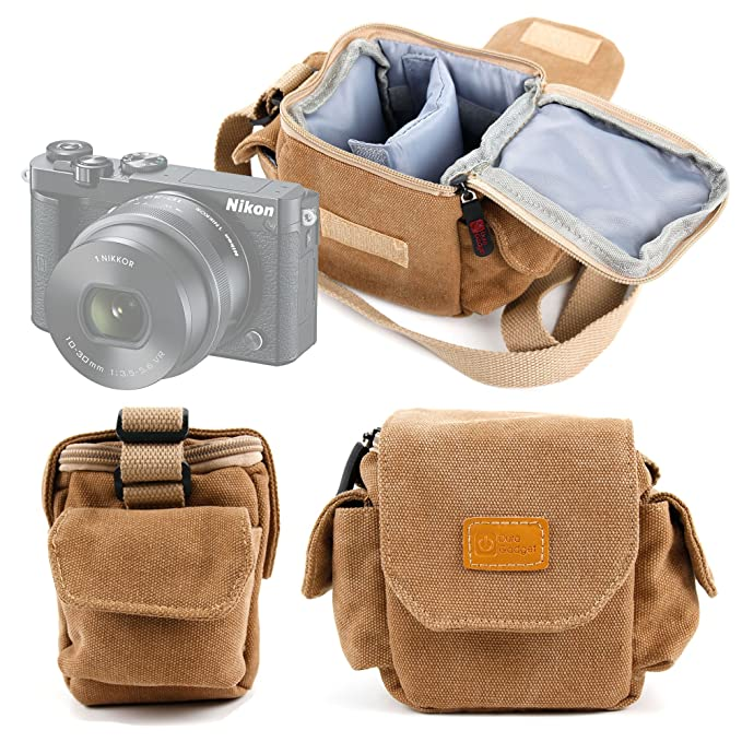 8ebe0101e25e DURAGADGET Tan-Brown Small Sized Canvas Carry Bag for New Nikon 1 J5  Compact Camera - with Customizable Interior Compartment & Adjustable  Shoulder ...