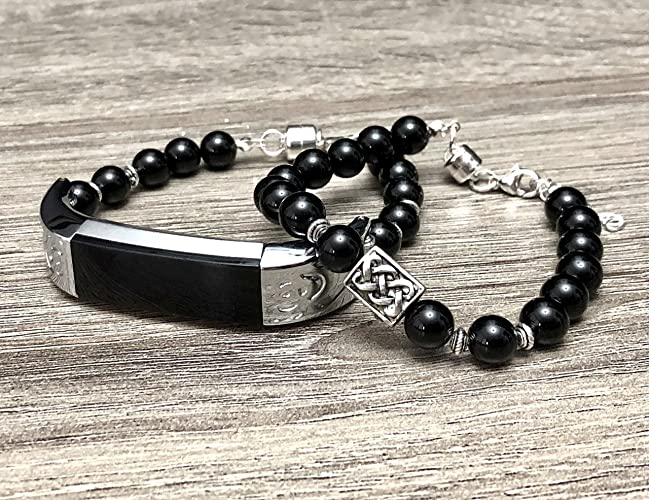 acheter maintenant capture la clientèle d'abord Amazon.com: Luxury Set Onyx Stones Bracelets for Fitbit Alta ...