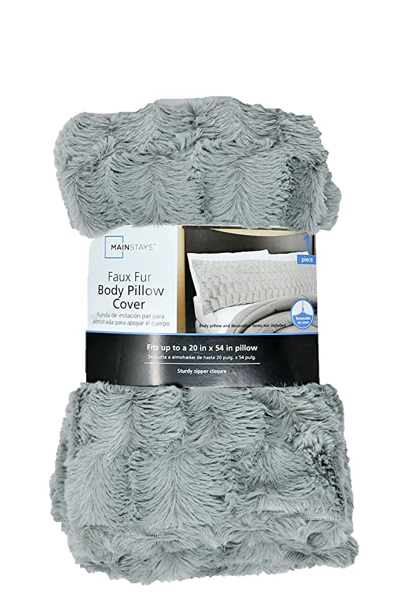 Mainstays Elegant Faux Fur Body Pillow Cover Removable With Zip Delectable Mainstays Body Pillow Cover