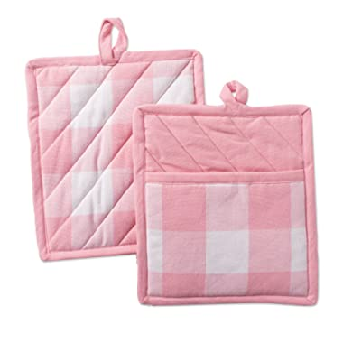 DII Heat Resistant Pink Buffaloo Check Potholder, Pocket Mitts (Set of 2), 9  x 8 , Pink and White Buffalo Check