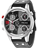 Police COPPERHEAD men's quartz Watch with black Dial chronograph Display and black leather Strap 14374JS/02