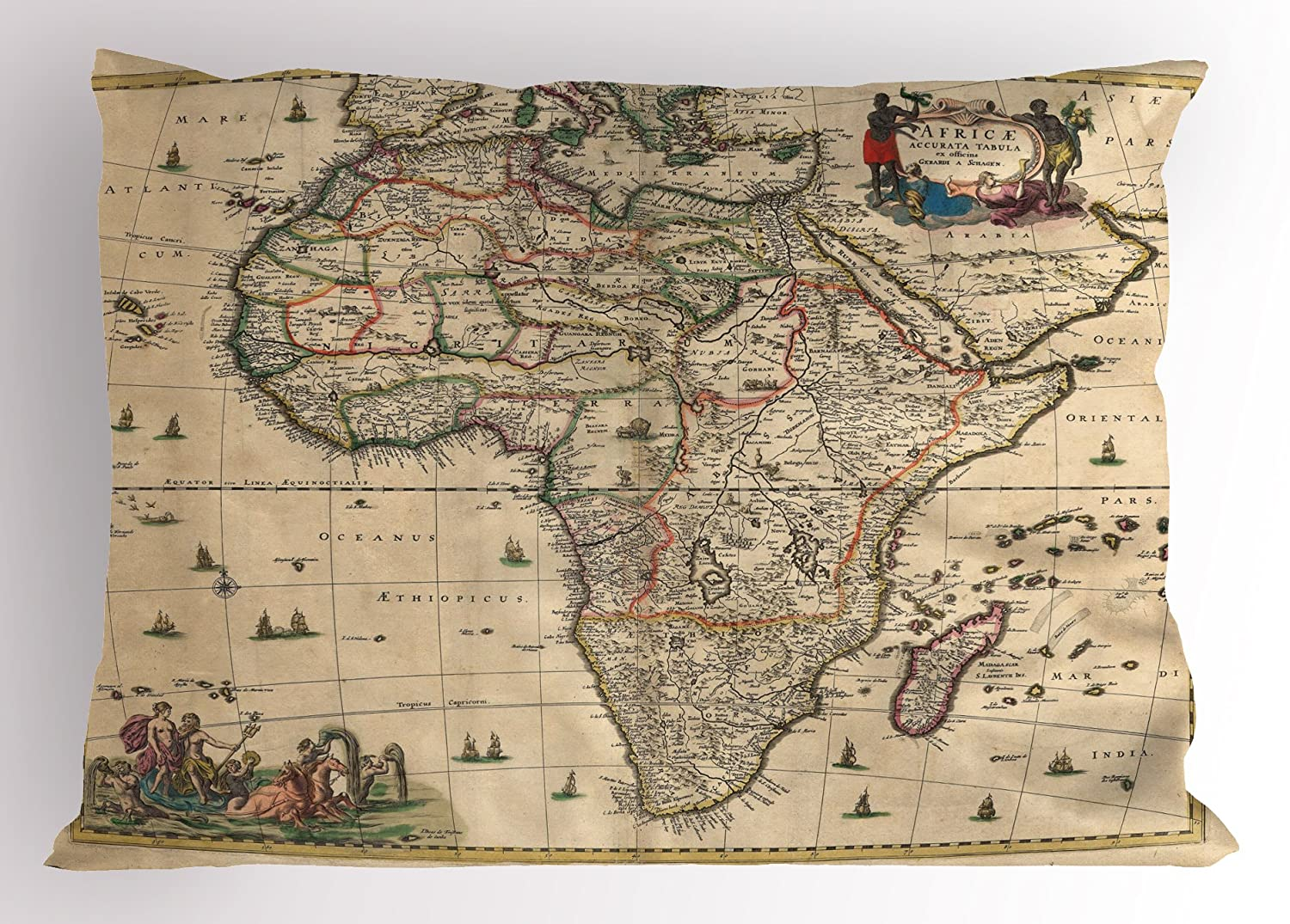 Amazon Com Ambesonne Antique Pillow Sham Old Map Of Africa