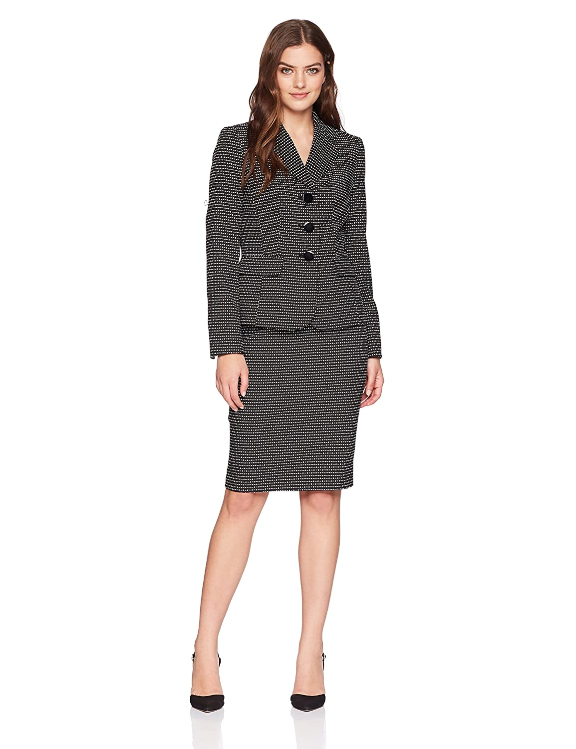 LeSuit Womens Standard Novelty Dot 3 Bttn Notch Lapel Skirt Suit Le Suit 50036843