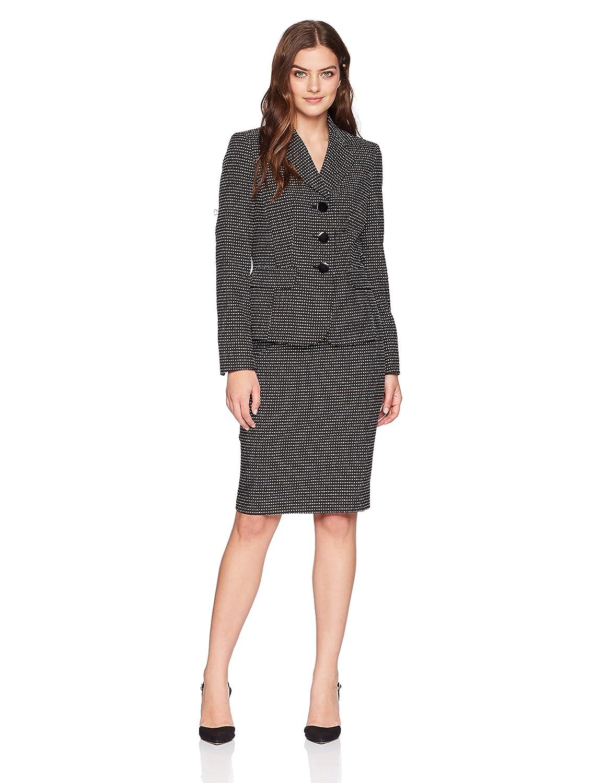 Le Suit Womens Novelty Dot 3 Bttn Notch Lapel Skirt Suit 50036843