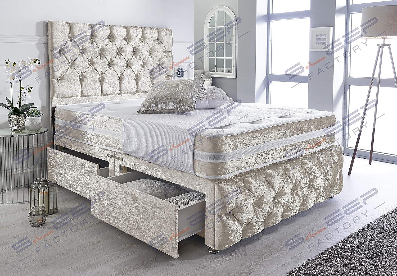 Mattress /& Headboard Super King Sleep Factorys Black Crushed Velvet Chesterfield 2 Drawer Divan Bed Set 6.0FT