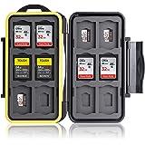 Ares Foto® Caja de protección • Almacenamiento de tarjeta de memoria para 12 SD y 12 Micro SD tarjetas • Funda guardar…