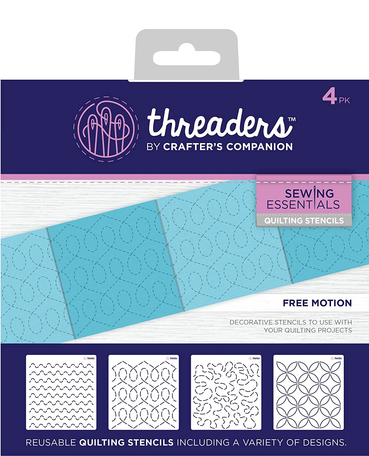 Threaders quilting stencil – free Motion, trasparenti, pezzi Crafter' s Companion TH-1221