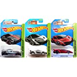 Lamborghini Red Veneno Silver Mclaren & Ferrari Speed Set of Hot Wheels 3 cars 2015 IN PROTECTIVE CASES