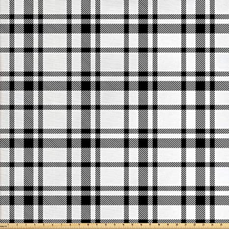 Amazoncom Ambesonne Plaid Fabric By The Yard Black And White