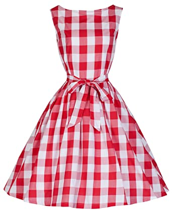 0feaae18fb Lindy Bop  Audrey  Vintage 1950 s Rockabilly Checked Gingham Picnic Party Swing  Dress (