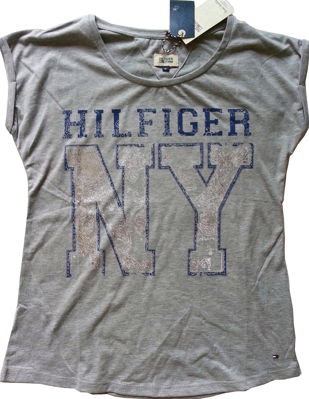 Tommy Hilfiger Denim t shirt damen print NY T.H.D. (L, Grau