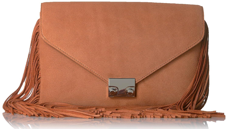 LOEFFLER RANDALL Lock Split Suede/Fringe Evening Bag Desert Nude LCKCLTCH-SSF