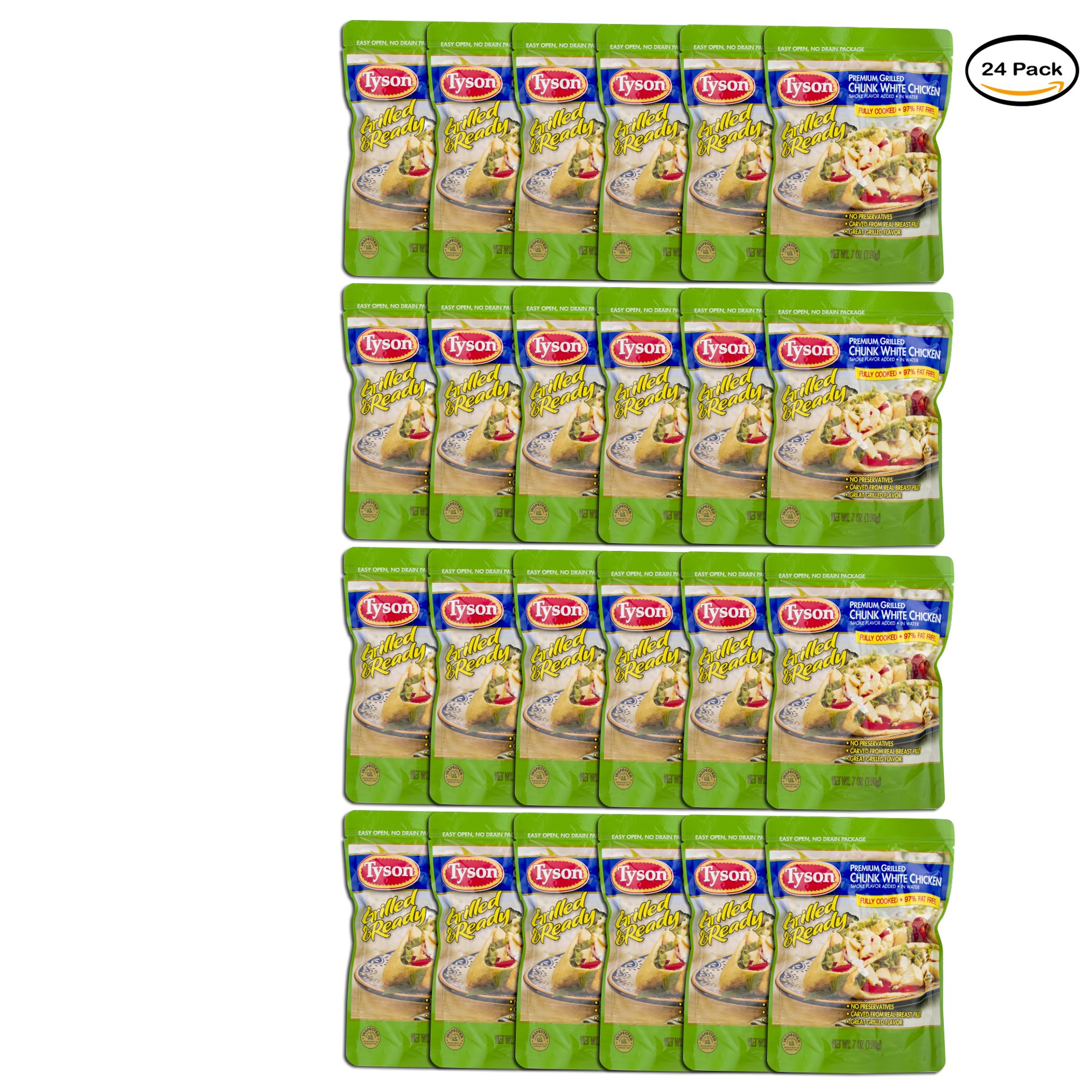PACK OF 24 - Tyson Grilled & Ready Premium Chunk White Chicken, 7 oz