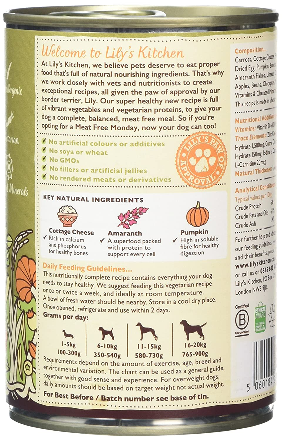 Lily\'s Kitchen Wholesome Veggie Feast Wet Food for Dogs, 375 g, Pack ...