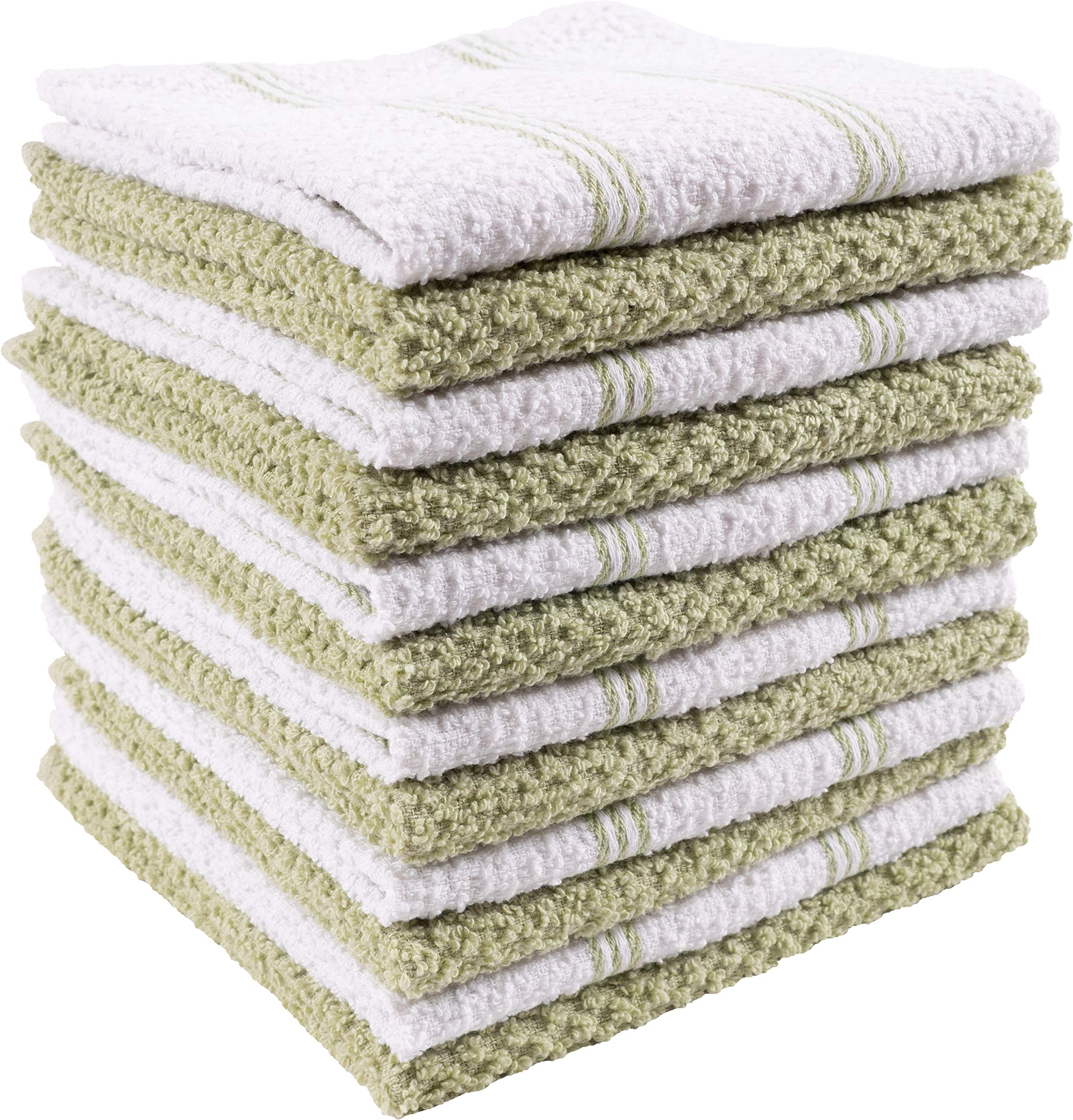 KAF Home Pantry Piedmont Dish Cloths (Set of 12, 12x12 inches), 100% Cotton, Ultra Absorbent Terry Towels - Sage