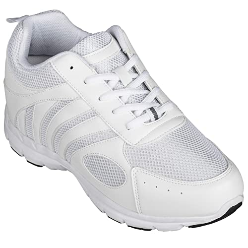 8d62730fead5c CALTO Men's Invisible Height Increasing Elevator Shoes - White Leather/Mesh  Lace-up Super Lightweight Trainer Sneakers - 3 Inches Taller - G3303
