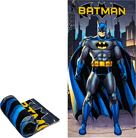 "BATMAN DARK KNIGHT DC COMICS IN CITY BEACH BATH POOL COTTON TOWEL 30/"" x 60/"" NWT"