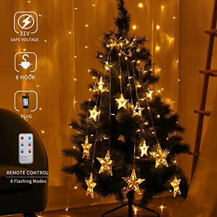 areskey christmas decor lights138 led 12 stars curtain lights decorative window string light wedding - Amazon Christmas Decorations Indoor