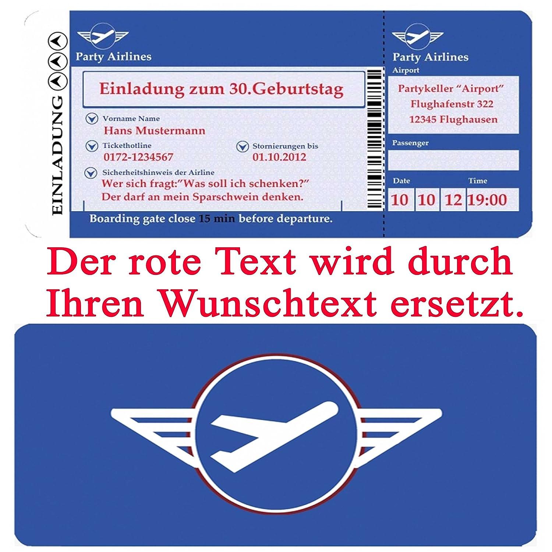 Einladungskarten Geburtstag - Motiv: Flugticket (+ Ihren Daten und ...