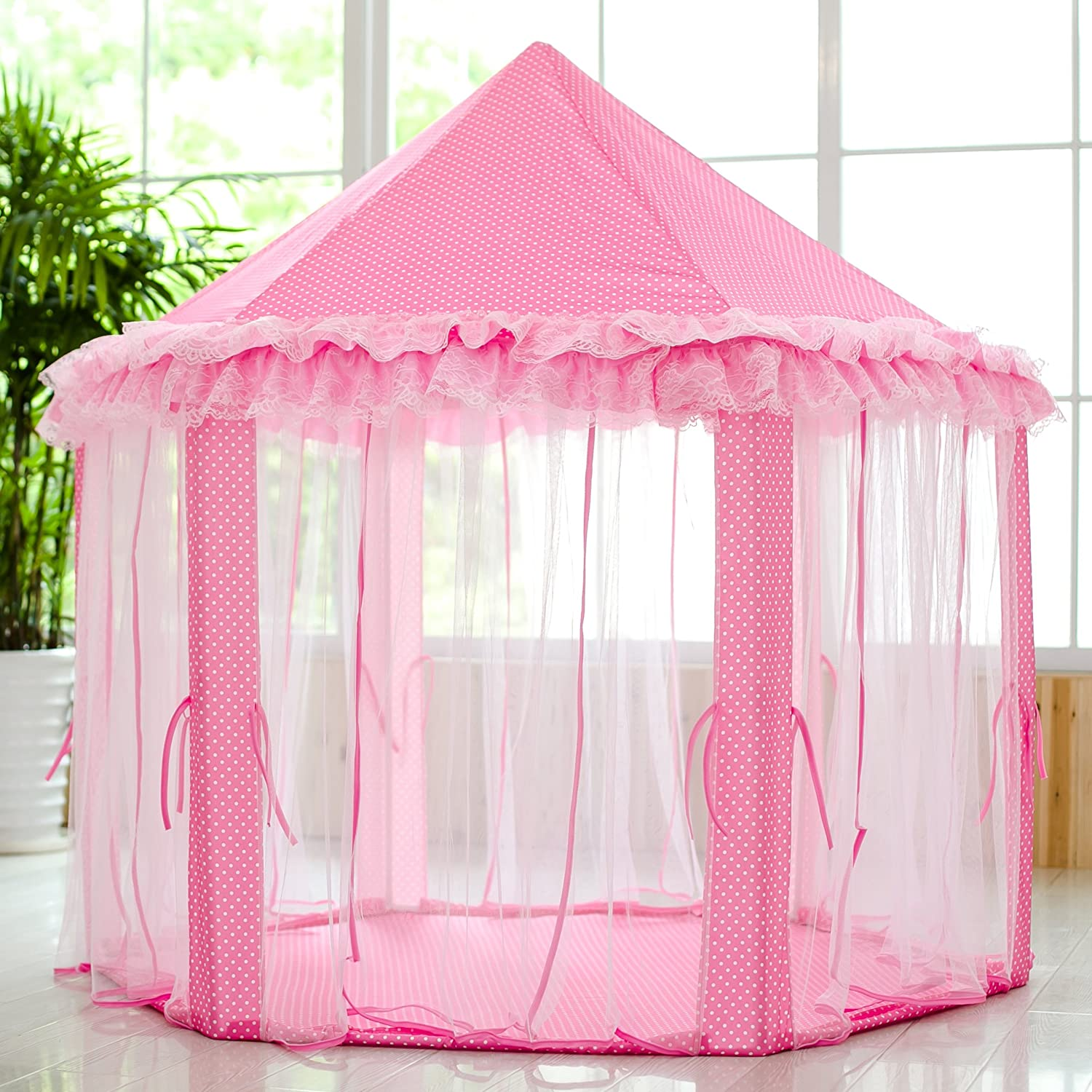 Amazon.com: SkyeyArc Princess Playhouse With Lace, Pink Tent ...