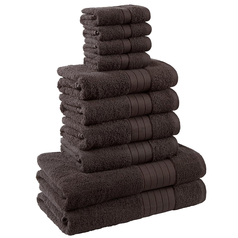 Dreamscene - Juego de toalla de lujo, 100% algodón egipcio, Chocolate, 10 unidades): Amazon.es: Hogar