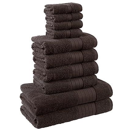 Dreamscene – Juego de toalla de lujo, 100% algodón egipcio, Chocolate, 10