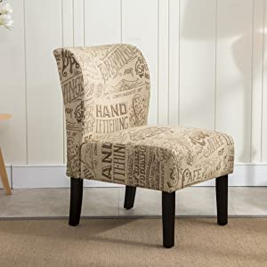 Roundhill Furniture Capa Print Fabric Armless Contemporary Accent Chair, Chalkboard Light