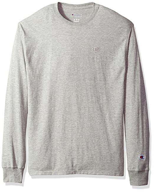 be6cee4353b760 Champion Men's Classic Jersey Long Sleeve T-Shirt, Oxford Gray, L:  Amazon.in: Clothing & Accessories