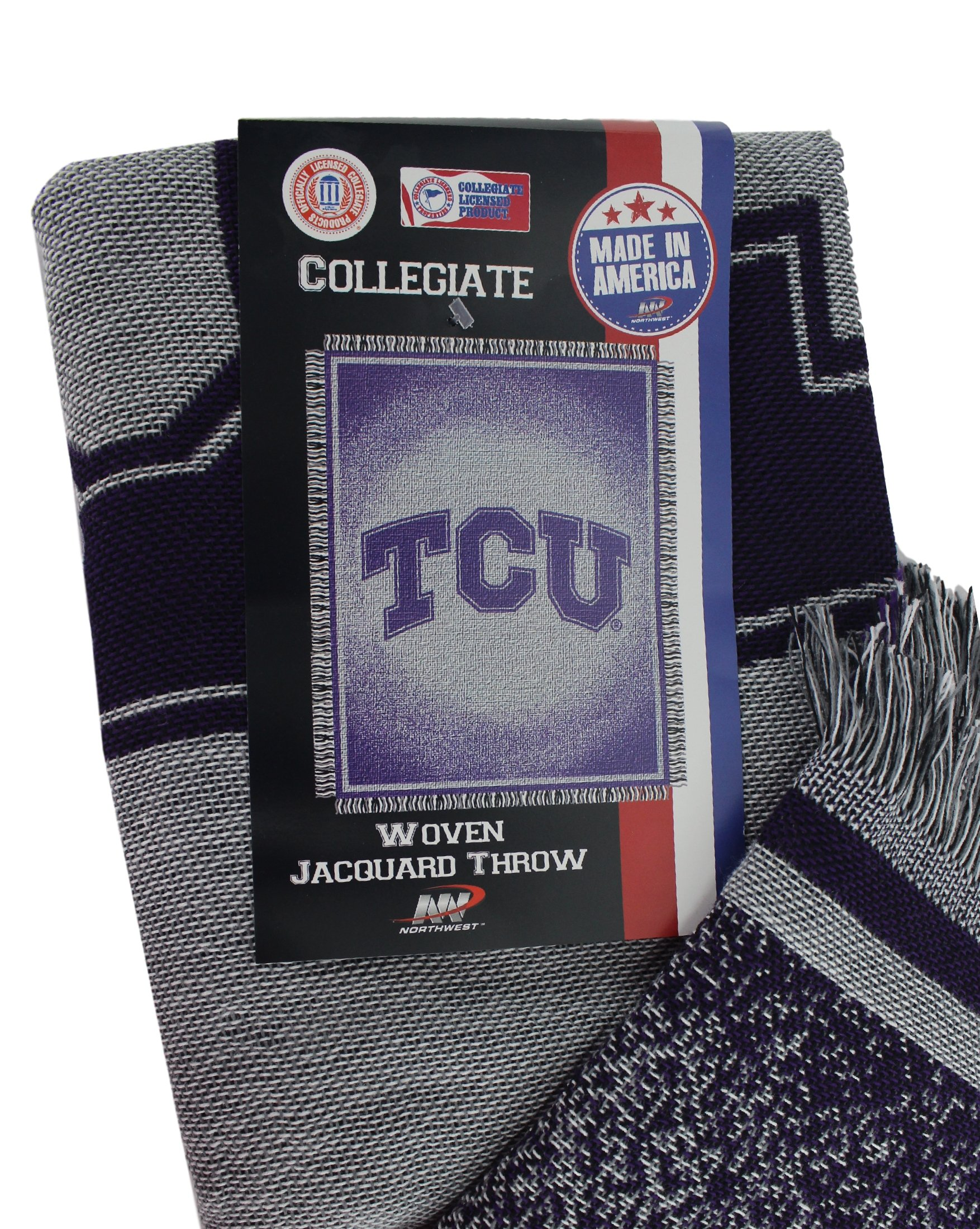 NCAA TCU Texas Christian 48 x 60-Inch Focus Jacquard Woven Throw