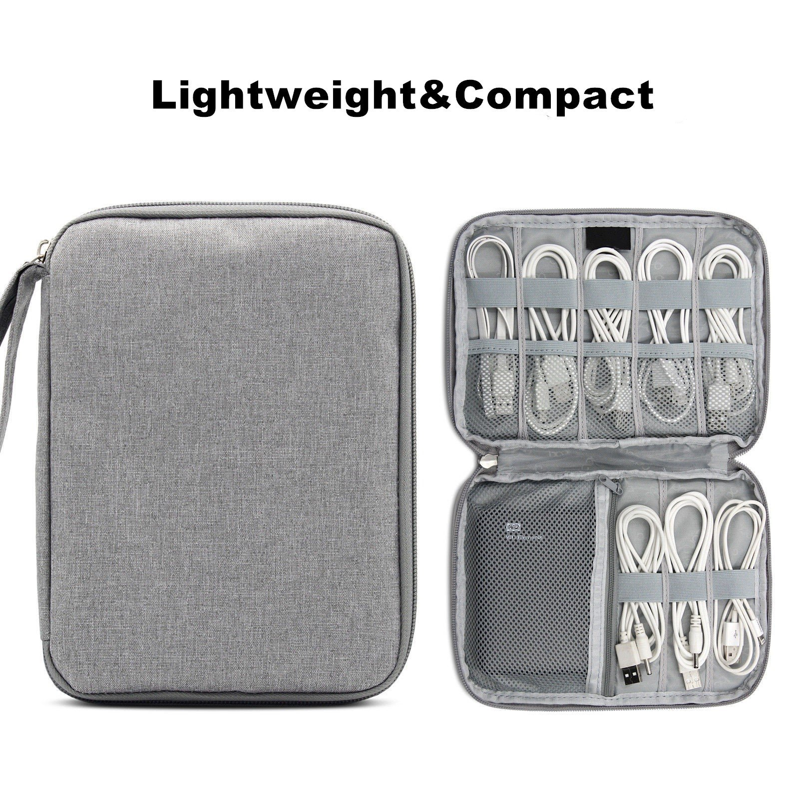 Cable Organizer Electronics Accessories Travel Bag USB Drive Bag Gadgets & Grooming Kit(Grey)