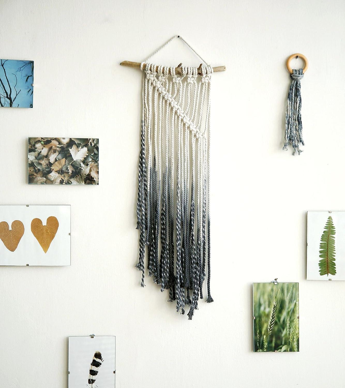 Macrame walling hanging Dip dyed macrame wall hanging dowel wood fiber art modern wall hanging Abstract