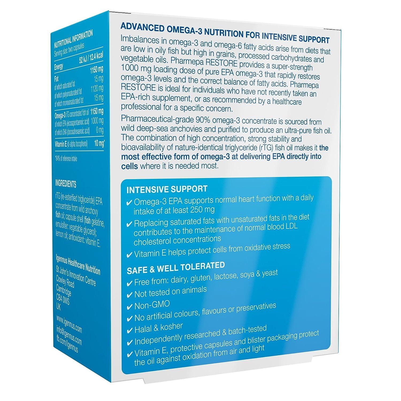 Pharmepa RESTORE aceite de pescado omega-3 de grado farmacéutico, omega-3 EPA pura de 1000 mg, concentración del 90% para alta potencia y máxima absorción, ...