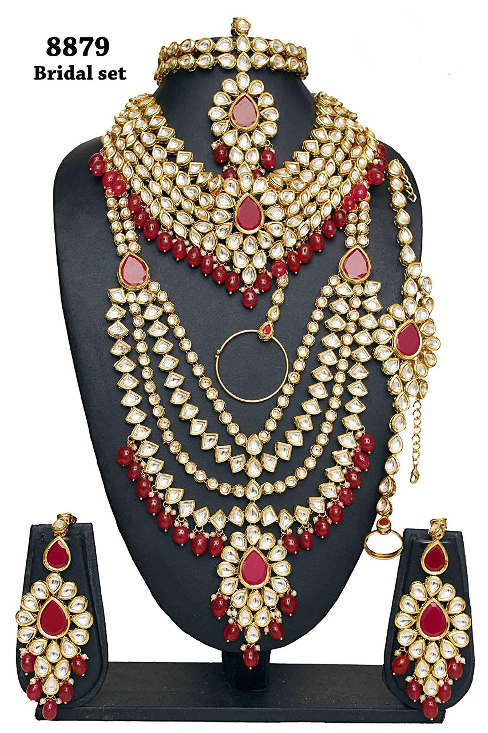 Indian Style Golden Plated Kundan Stone Polki Indian Necklace Earrings Bridal Set Traditional Jewelry