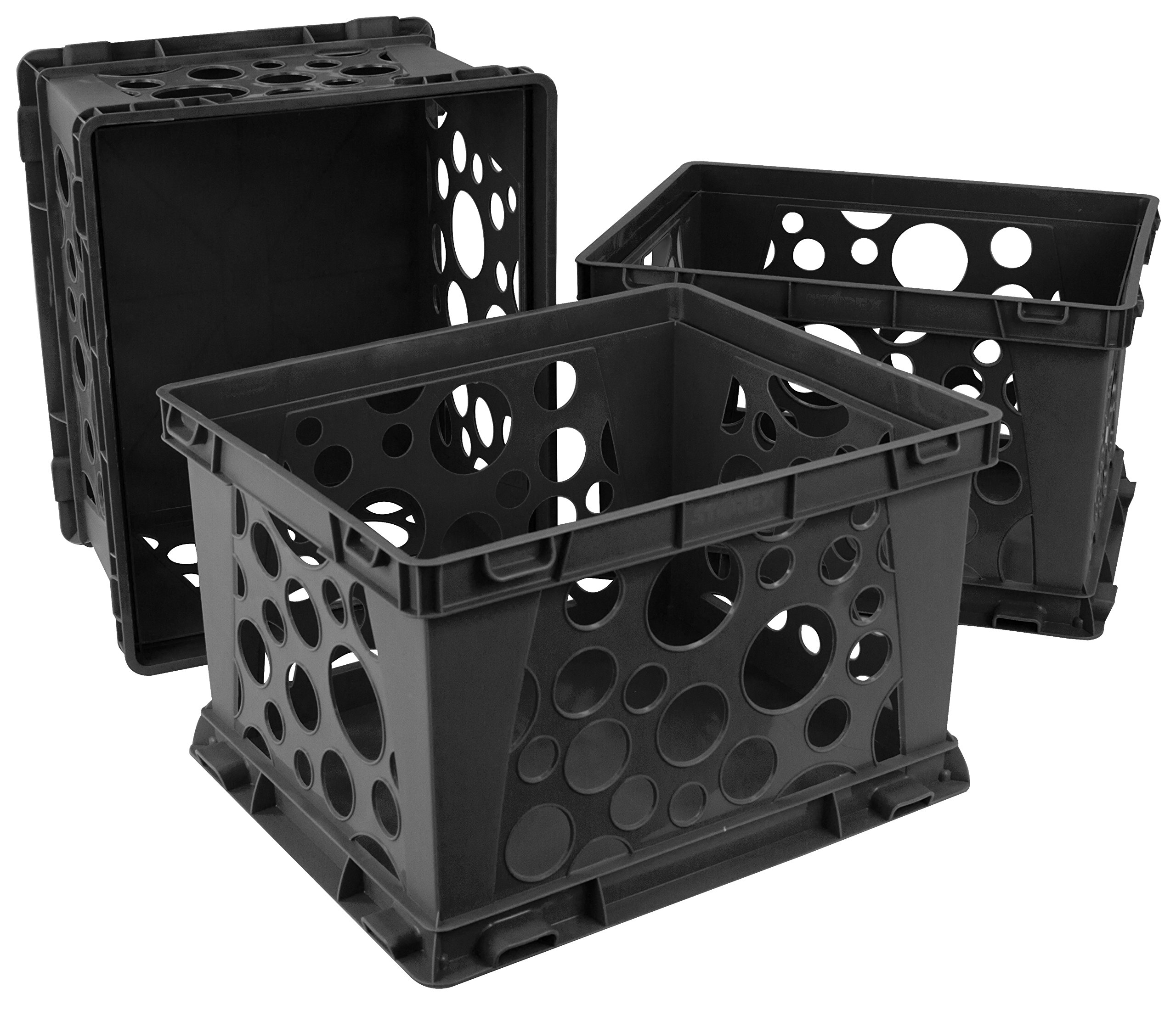 Storex Large Storage and Transport File Crate, 17.25 x 14.25 x 10.5 Inches, Black, Case of 3 (STX61546U03C)