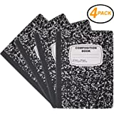 Emraw Black & White Marble Style Cover Composition Book with 100 Sheets of Wide Ruled White Paper (4 Pack)