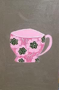 لوحة كوب شاي باللون الزهري مزخرف بورود