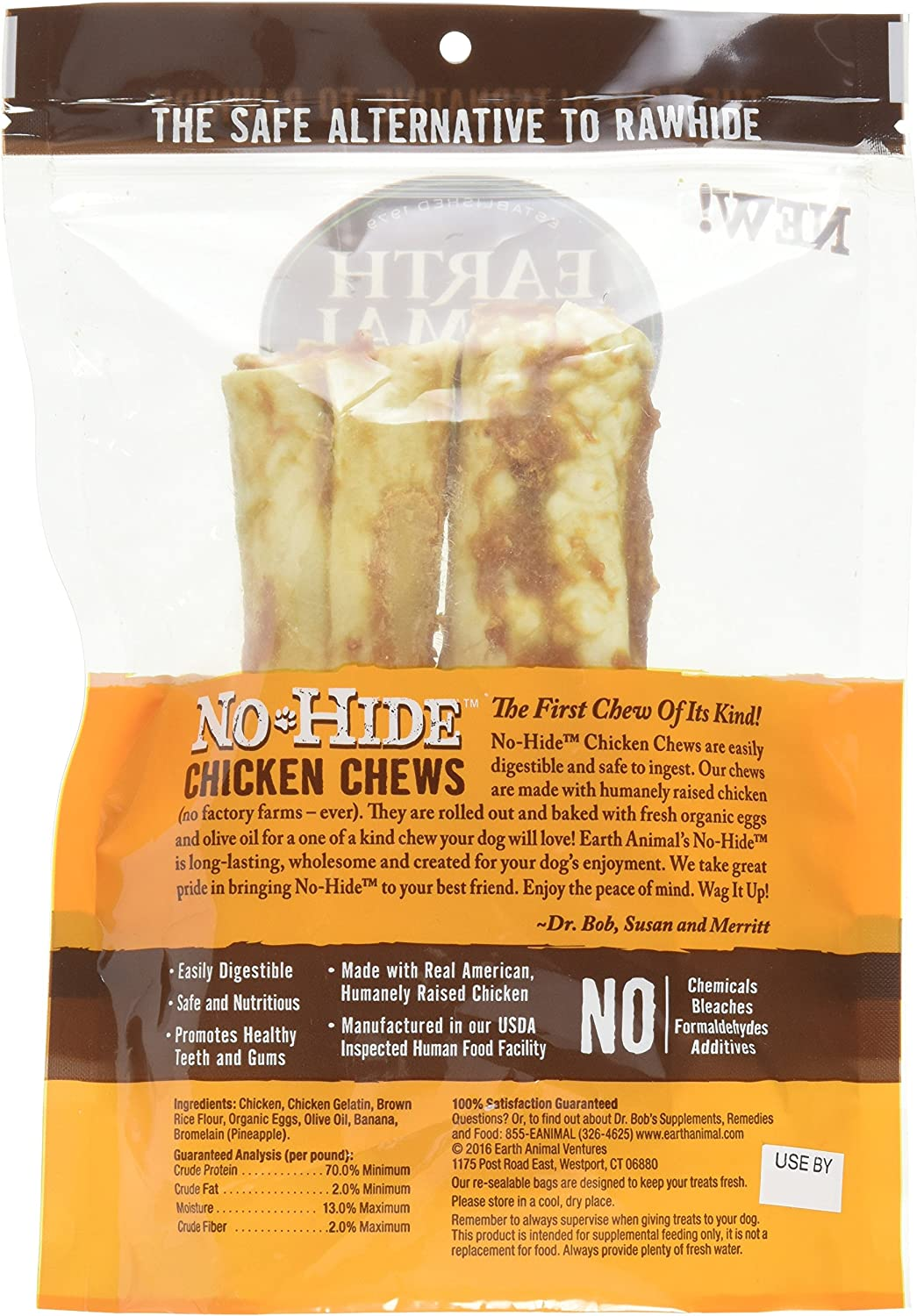 Earth Animal No-Hide Chicken Chews, 7 Inch, for Large Dogs 45 to 75 Pounds